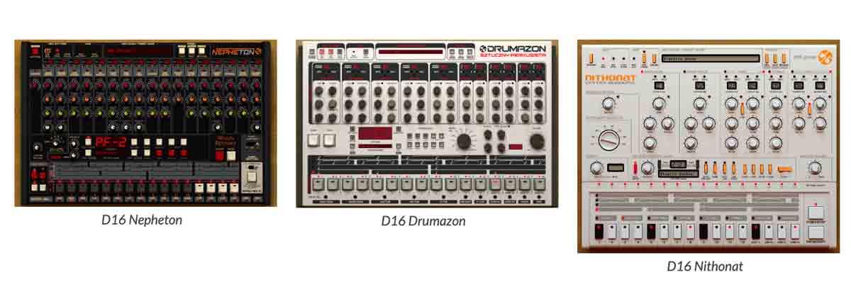 Nepheton (TR-808), Drumazon (TR-909), Nithonat (TR-606)